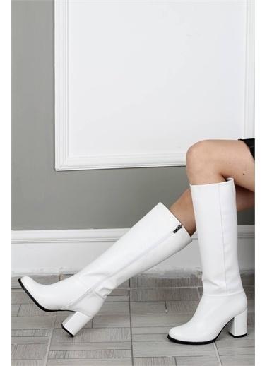 Modabuymus Modabuymus Yuvarlak Burun Kalın Topuklu  Kadın Çizme - Barkab Beyaz